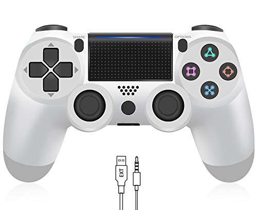 Wireless Controller for PS4, YCCTEAM Game Controller for Playstation 4/Pro/Slim, Gamepad Joystick Remote with Dual Vibration/6-axis Gyro Sensor/Audio Jack, 1000mAh Battery (Glacier White)