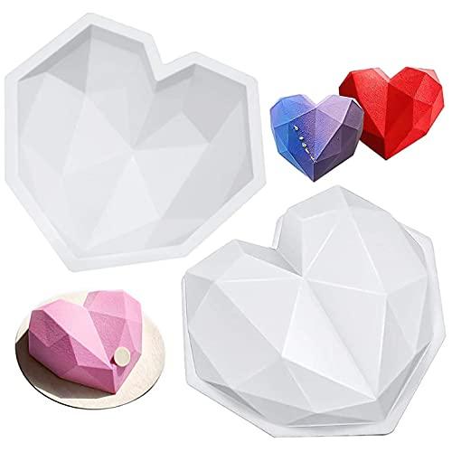 FANDE Molde en Forma de Corazón, Molde de Silicona en Forma de Corazón de Diamante 3D, Molde para Hornear Postres del Día de San Valentín, Mousse de Pastel de Chocolate (2 Piezas)