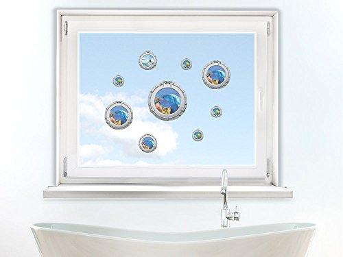 GrazDesign 411030 Raamstickers Bullaugen | Glas-Tattoo Set gekleurd | Raamfolie voor de badkamer DIN A4 (4Stück)