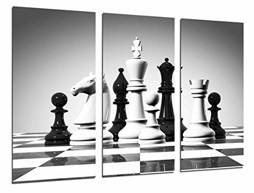 Muurschildering - bordspel, zwart-wit-schaakbeeldjes, 97 x 62 cm, houtdruk - XXL formaat - kunstdruk, ref.26919