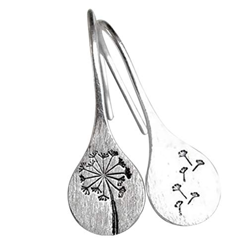 Fuyamp Simple Vintage 925 Sterling Silver Dandelion Earrings Women Ladies Drop Earrings Jewelry Gift for Wedding Birthday Festival