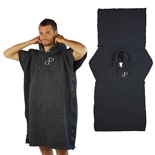 Surf poncho, capuchon, omtoverbaar in een strandhanddoek met tas en mouwen, katoen, voor het wisselen van kleding voor volwassenen, absorberend, handdoek-hoodie-ritssluiting, heren en dames, watersport