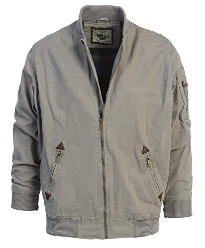 Gioberti Men's Sportwear Full Zipper Twill Bomber Jacket, Gray, XXL