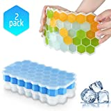 Ice Cube Trays with Lids,2-Pack 74 Ice Cubes Food Grade Silica Gel Flexible and BPA Free with Spill-Resistant Removable Lid Ice Cube Molds for Chilled Drinks, Whiskey & Cocktails(Bule&White )