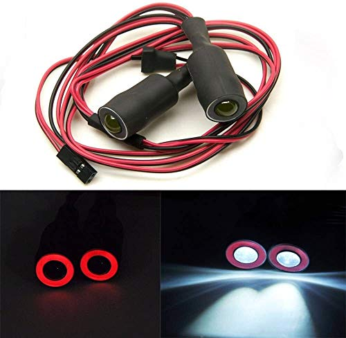 FENGLI 13mm 2LEDs Angel Eyes & Dämon Augen LED-Scheinwerfer-Rücklicht for 1/10 RC Car (rot + weiß)