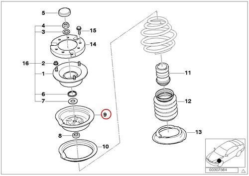 BMW Coil Spring Pocket with Spacer Front Left or Right Upper GENUINE