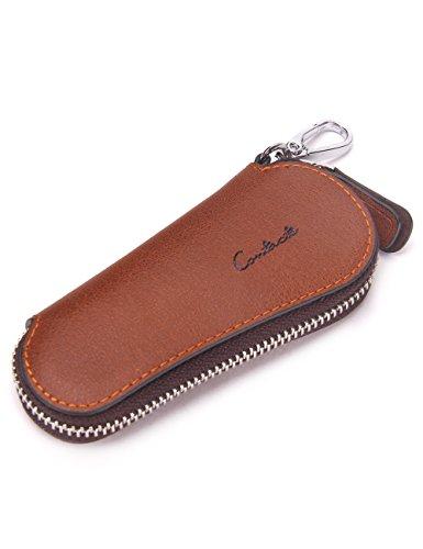 Estuche con cremallera para llaves de coche para hombre con llavero, marrón (Marrón) - 10440742