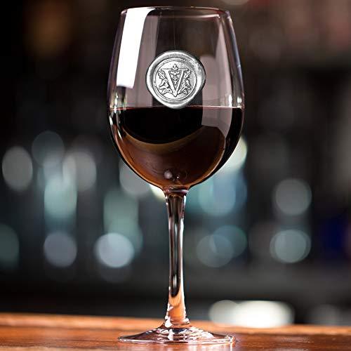 English Pewter Company - Copa de vino personalizada con su elección de inicial (V) – Regalo único para hombres o mujeres, cumpleaños, aniversarios, boda [MON422] (V)