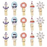 Garneck 40Pcs Mini Pinzas para La Ropa con Ancla de Barco Pinzas para La Ropa de Madera Clavijas de Fotos Pin Clips de Imagen Océano Costero Ornamento Náutico para Tarjeta de Notas Memo