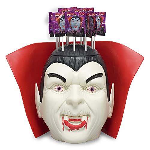 Caramelos Cerdán Pack Halloween cabeza Drácula con luz con 100 piruletas Drácula sabor cereza. Bolsa con 100 unidades de 12,2 gr