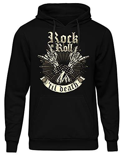 Rock 'n' Roll Männer Herren Kapuzenpullover | Rockabilly Rock Musik Heavy Metal Death Hardrock | M2 (XXL)
