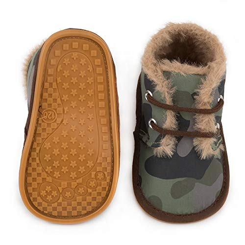 CENCIRILY Newborn Baby Girls Boys Warm Winter Snow Suede Boots Anti Slip Rubber Sole Toddler First Walker Shoes, A-green With Rubber Sole, 3-6 Months Infant