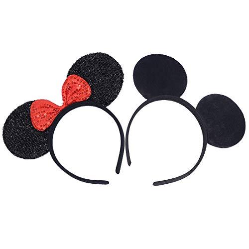 Conjunto de 2 Diademas para cumpleaños Fiestas de Halloween Mamá Niños Niñas Accesorios para el cabello Sombrero de orejas de ratón precioso Decoraciones (Lentejuelas Rojas Negro Sólido)