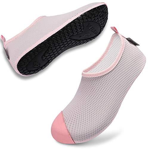 VIFUUR Zapatos de Agua Hombre Mujer Escarpines Zapatillas de Yoga Descalzos Secado rápido para bucear al Aire Libre en la Playa Rosa-M EU36/37
