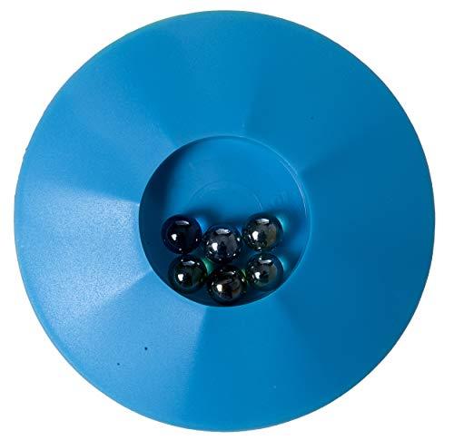 Engelhart - Knikkerpot - Color Murmelteller Spiel - Runde Form 17 cm - Incl. 6 murmeln (Blau)