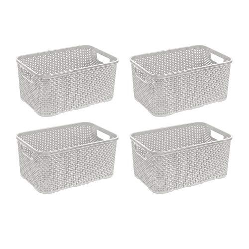BranQ - Home essential Juego de 4 cestas de plástico con diseño de ratán, tamaño M, 10 L, polipropileno, color crema