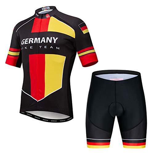 JPOJPO Herren Fahrradtrikot Kurzarm + 5D Gepolsterte Shorts Sommer schnell trocknend S-3XL M deutschland