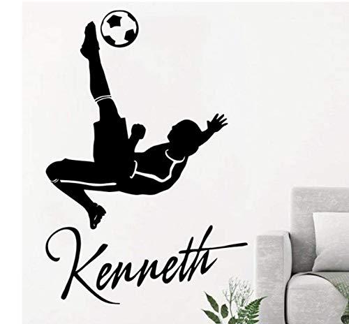 JUNZE Niño Nombre inglés Jugador de fútbol extraíble Autoadhesivo Tallado Etiqueta de la Pared decoración