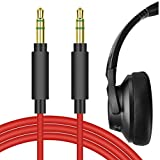 Geekria QuickFit Cable de audio de repuesto para auriculares Anker Soundcore Life Q20, Life Q10, Life 2 Active, Vortex, COWIN E7, 059, H8, H9, H16 ANC, H17 ANC, H21, cable de 3,5 mm (rojo 5,6 pies)