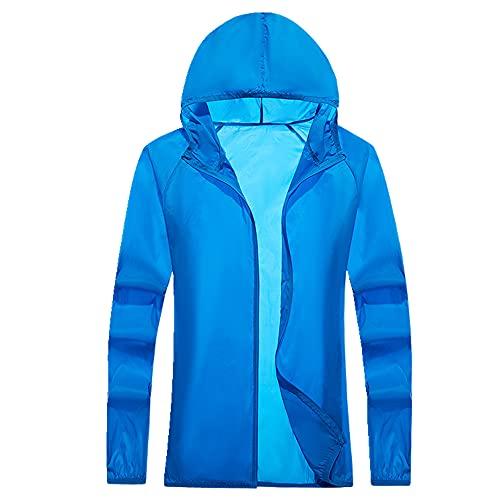 Protector solar, cortavientos con capucha para hombre y mujer, azul, M