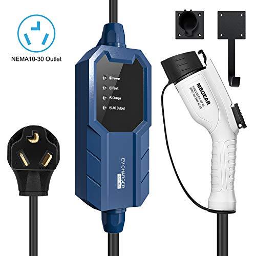 Megear 2021 Gen2 Updated Version Level 2 EV Charger(240V, 16A, 25ft), Portable EVSE Home Electric Vehicle Charging Station (NEMA 10-30 Plug)