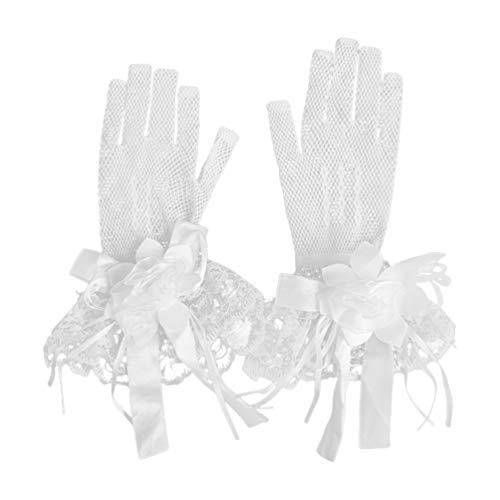 Luvas de renda floral para noivas VALICLUD para casamento e festa de casamento elegante