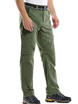 Mens Hiking Pants Convertible Quick Dry Zip Off UPF Lightweight Fishing Travel Camping Safari Pants,Army Green,32
