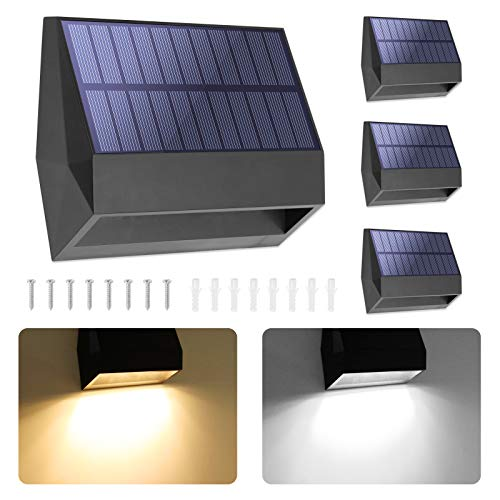 BRIDIKA Solar Fence Lights LED Solar Wall Lights Outdoor IP65 Waterproof 2 Lighting Modes for Backyard Garden Garage and Pathway (Warm and Cool Light, 4 Packs)