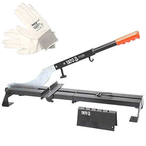 Cortadora de azulejos profesional YATO| cortadora de chapa para el corte de suelos laminados y paneles a pared para laminado, cortadora antirruido y antipolvo + guantes de trabajo