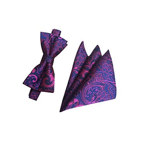 JUNGEN Pajaritas de Hombre Pajaritas y pañuelo con Estampado Vintage Corbata de Lazo de Seda de poliéster Juego de Pajarita de Elegante para Boda Festival Citas