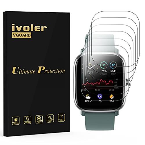 ivoler 6 Unidades Protector de Pantalla para Amazfit GTS 2 Mini/Amazfit Bip U/Amazfit Bip U Pro, [Cobertura Completa] [líquida Instalar] [No Burbujas] HD Transparente TPU Suave láminas Protectora