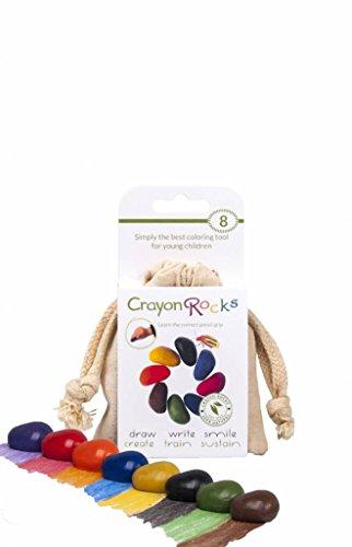 Crayon Rocks - Ungiftige Kinder SOYA-Wachsmalstifte [Stiftgriff anregend] - dauerhaftige Kreide in Einer Musselin-Tasche - 8 natürliche wachsbar Farben - zeichnen auf Papier und Stoff