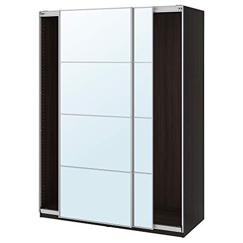 PAX armadio con ante scorrevoli 150x66x80 cm nero-marrone/vetro specchio Auli