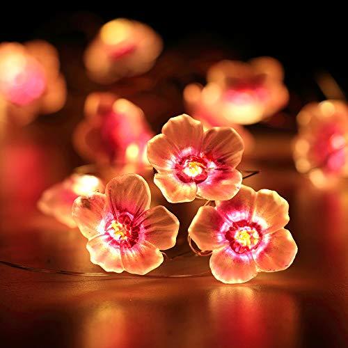 Flower String Lights for Kids Bedroom HuTools Pink Cherry Blossom String Lights 10ft 30 LEDs Battery Powered String Lights for Nursery Baby Room Decor