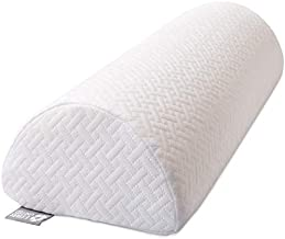 Half Moon Bolster Semi-Roll Pillow - Ankle and Knee Support - Leg Elevation - Back, Lumbar, Neck Pain Relief - Pad for Side and Stomach Sleepers - Premium Quality Memory Foam - Breathable Cover