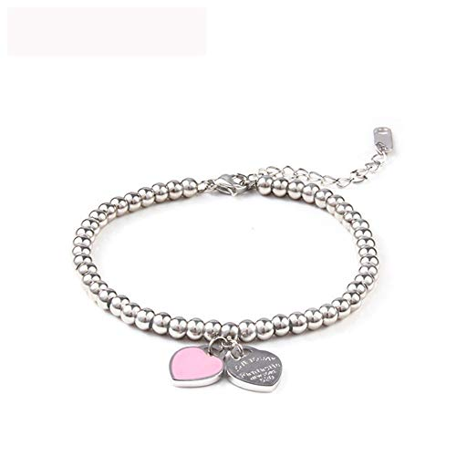 KKVK Charms Herz Bracelet & Bangles Perlen Femme Geschenke Für Frauen Weiblich Edelstahl Schmuck Braslet Silber Geschenk A One Size