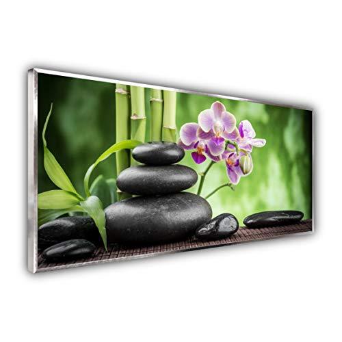 STEINFELD Heizsysteme® Glas Bild Infrarotheizung   Deutscher Hersteller   viele Motive 350-1200 Watt Rahmen silber/alu (750 Watt, 055 Zen Basaltsteinen)