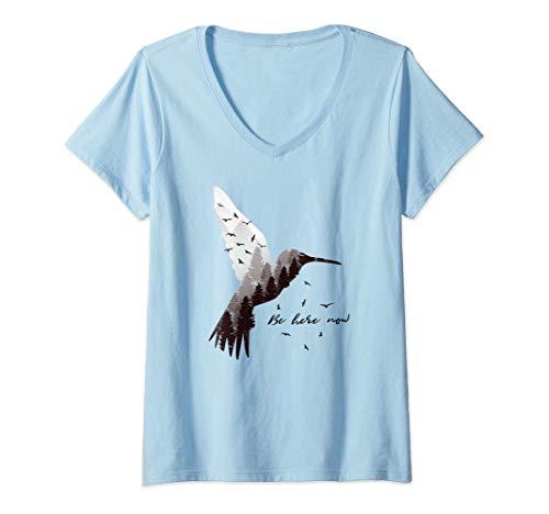 Womens Hummingbird Outdoor Forest and Native Bird Lover Gift V-Neck T-Shirt