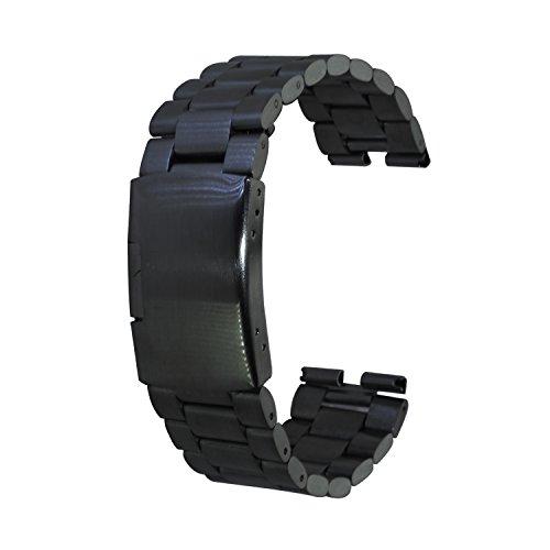 XIEMIN 22mm Stainless Steel Watch Band Strap Bracelet for Motorola Moto 360 1st gen Smart WatchFree Screen Protector and Spring Bar Jeweler Tools (Black)