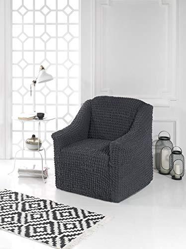 MyPalace Ysabella moderner Sesselschoner mit Schaumstoff-Ankern 1 Sitzer hochdichtes Stretch-Gewebe und antirutsch Stretch Sesselhusse Fernsehsessel Bezug elastischer Sesselüberwurf,70-120cm Anthrazit