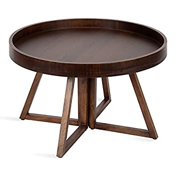 Kate and Laurel Avery Round Wood Coffee Table 30  Diameter Walnut Brown