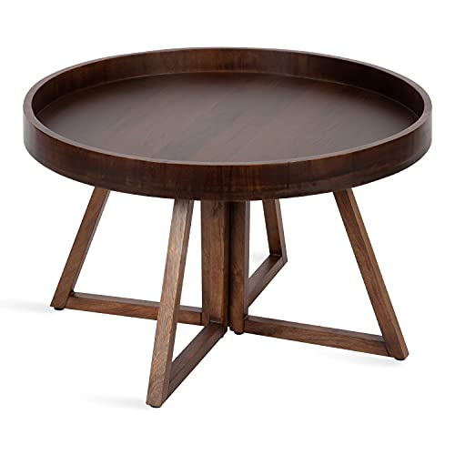 """Kate and Laurel Avery Round Wood Coffee Table, 30"""" Diameter, Walnut Brown"""