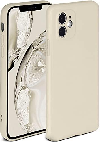 ONEFLOW Soft Hülle kompatibel mit iPhone 12 Hülle aus Silikon, erhöhte Kante für Displayschutz, zweilagig, weiche Handyhülle - matt Creme