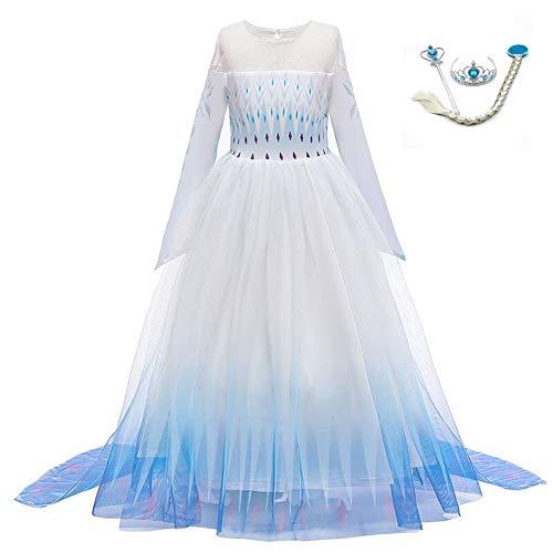 LZH 子供 用 コスプレ プリンセス ドレス コスチューム 超豪華4点セット (コスプレドレス,ハートのティアラ, 魔法のステッキ, 三つ編みウィッグ) 変装 誕生日 衣装 演出ドレス