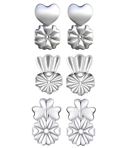 【3 Pairs】Earring Lifters Backs Sterling Silver Hypoallergenic Adjustable Secure Lifts Earring Jewelry, Heart-Shaped, Crown & Clover Style
