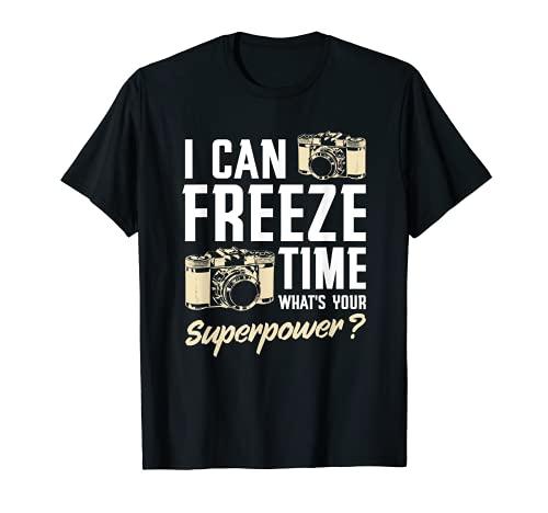I Can Freeze Time Fotografía Divertida Cámara Fotógrafo Regalo Camiseta