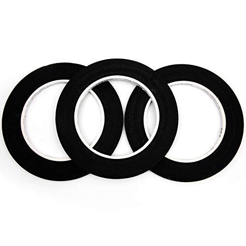 Rollos de Cinta Adhesiva Decorativa para Manualidad Uñas Coche Juguete Regalo Hogar DIY Álbumes de Recortes Suministros de Oficina 3 unds (Negro, 5mm*55m)
