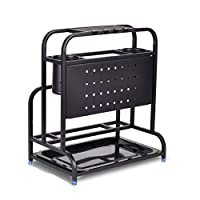 HTL シェルフ棚単位包丁は黒いステンレス鋼の台所の棚まな板の棚家庭ナイフホルダー多機能収納ラック,単層
