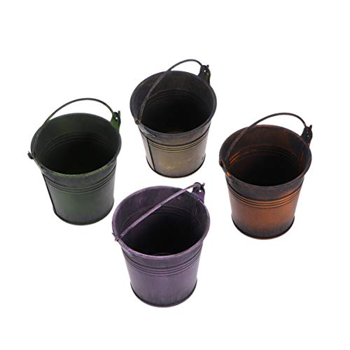 Yardwe 4 Piezas Macetas Colgantes para Planta Metal Maceta de Hierro Cubo Mini galvanizado Macetas con Mango Colgante Decoracion Jardin Maceta pequeña