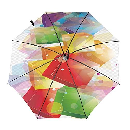 3d colorido cuadrado viaje plegable paraguas portátil compacto ligero diseño automático y alta resistencia al viento